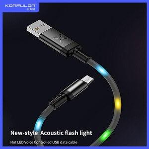 Image 1 - 2A Led Usb Kabel Micro Snel Opladen Datakabel Oplader Voice Control Led Kabel Voor Mobiele Telefoon DC09