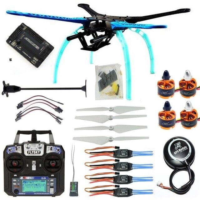 DIY RC Drone Kit 4 axis Quadrocopter 500mm Multi Rotor Frame 6M GPS APM2.8 Flight Controller Flysky FS i6 Transmitter Receiver