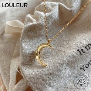 Louleur 925 серебряное ожерелье с бриллиантами Элегантная подвеска Звезда Луна ожерелье женское изысканное роскошное ювелирное изделие подаро...