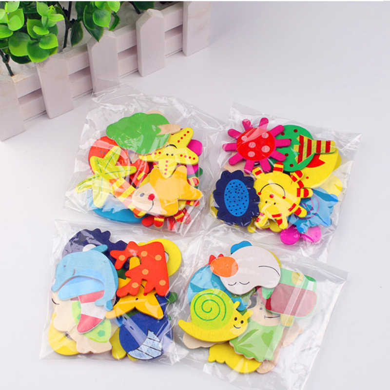 12pcs/lot Colorful Wooden Animal Cartoon Fridge Stickers Wooden Cartoon Fridge Magnets Decor Home Decoration Accessories