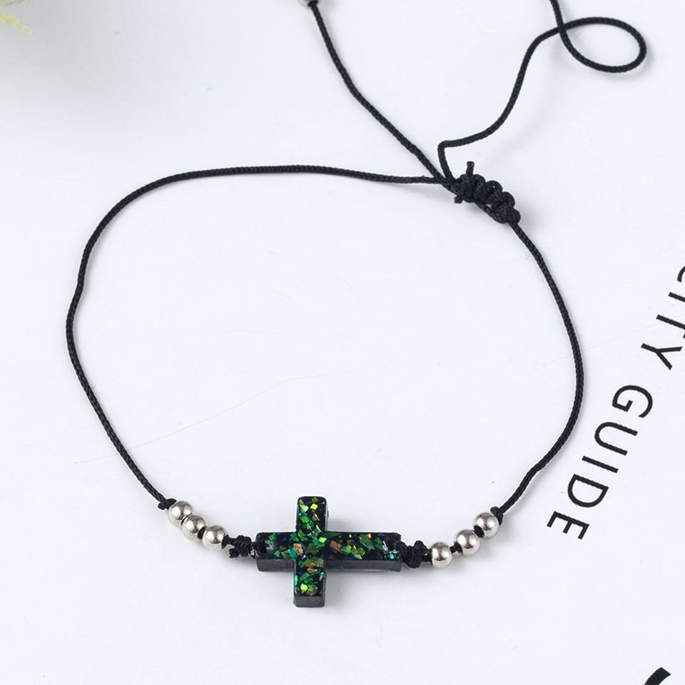 Boho Ankle Bracelet Bohemian Colorful Heart Beads Jesus Cross Turtle Butterfly Infinity Triangle Anklet Women's Leg Bracelet (29)