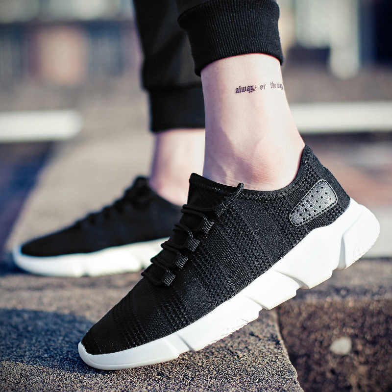 Merkmak קל Mens נעליים יומיומיות אופנה נושמות שרוכים Mens מאמני נעלי Zapatillas Hombre Deportiva