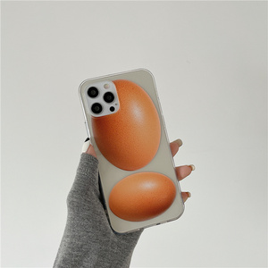 Image 1 - Egg patern case for iPhone 11 12 Pro MAX Xs Xr X 8 7 Plus 12MINI 11ProMax 전화 케이스 i 12pro tpu 투명 커버 귀여운 funda