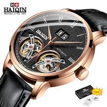HAIQIN męskie zegarki Top luksusowa marka automatyczne maszyny zegarek mężczyźni podwójne Tourbillon moda wodoodporny zegar relogio masculino
