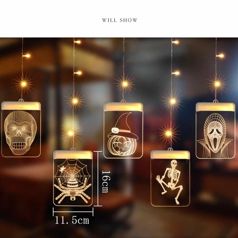 Светильник на хэллоуин гирлянды с источником питания от USB 5 В, светодиодный свет строка с 3D Джек тыквы свет вдова Хэллоуин украшение домашнего декора светодиодный свет шкаф украшения для шкафа ночник светодиодный на
