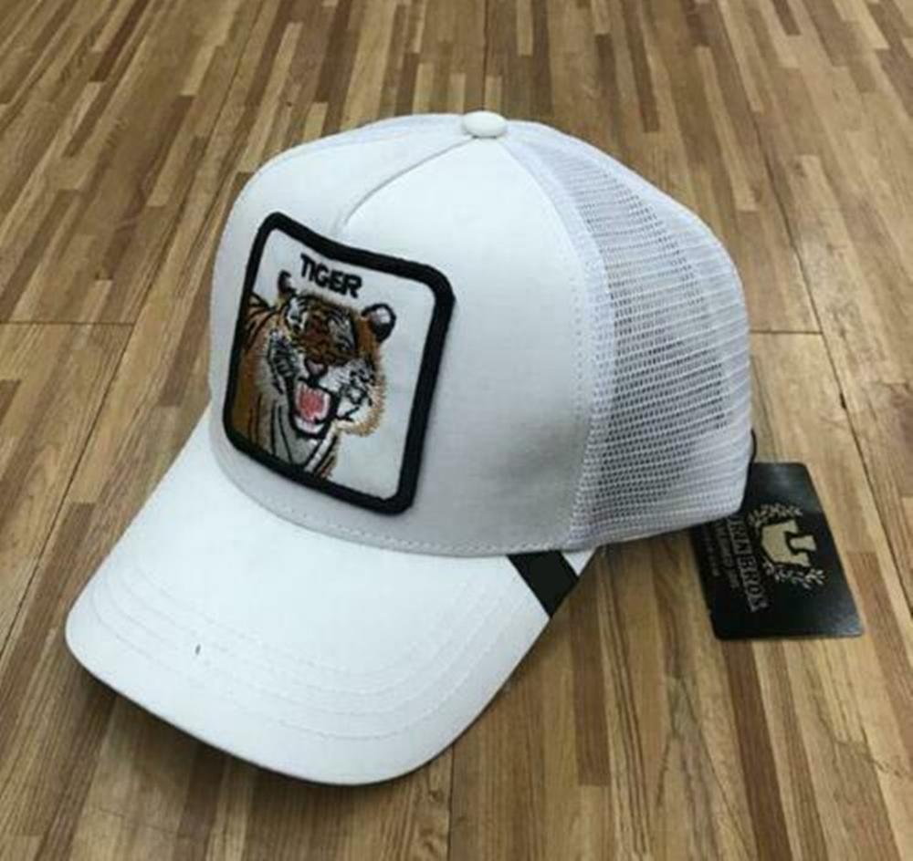2019 New  Summer Trucker Cap Mesh Snapback Hip Hop Hats For Men Embroidery Baseball Cap TIGER-WHITE
