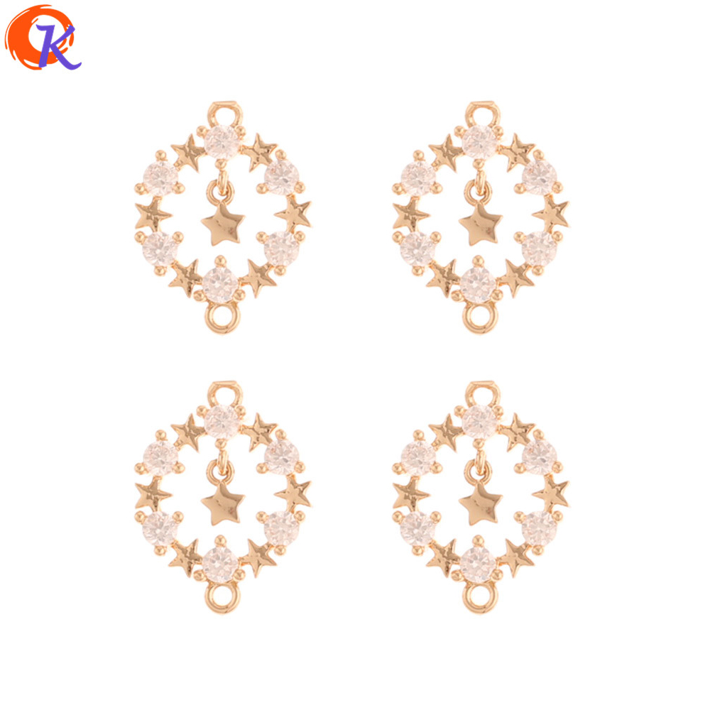 Cordial Design 50Pcs 12*17MM DIY Jewelry Accessories/Earrings Making/Star Shape/Connectors/Earring Findings/Hand Made/CZ Charms