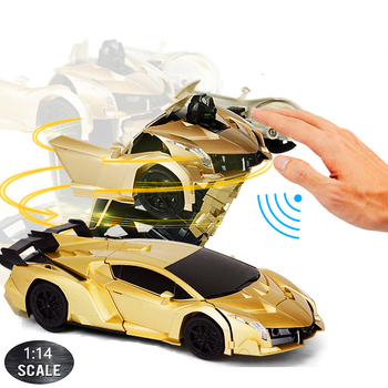 1:14 RC Car 29CM Music 2.4Ghz Induction Transformation Robot Deformation Gesture Sensing Remote Control Car Toy for Children B04 1