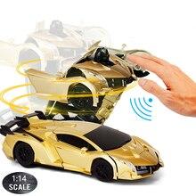 1:14 RC Car 29CM Music 2.4Ghz Induction Transformation Robot Deformation Gesture Sensing Remote Control Car Toy for Children B04