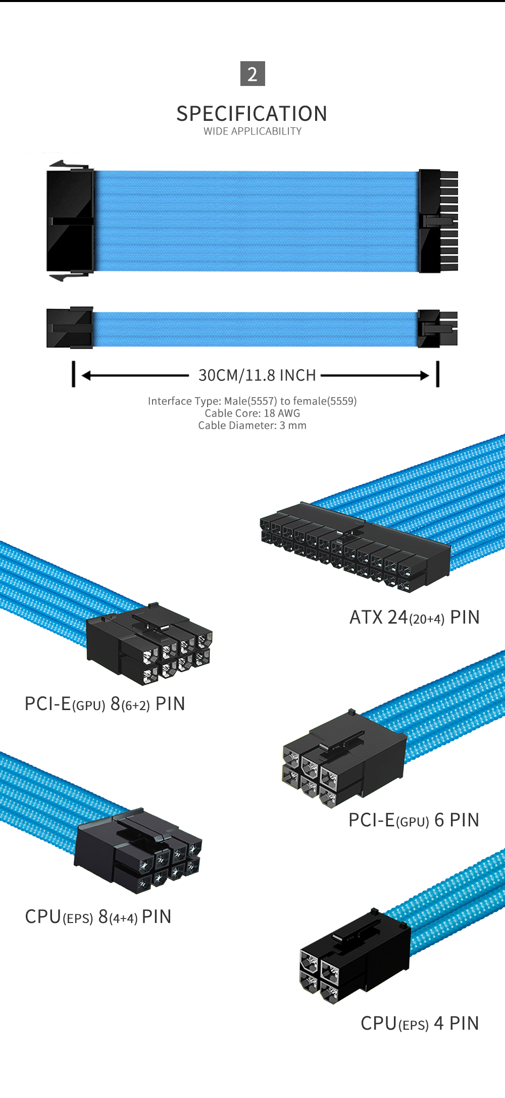 FormulaMod NCK3 Series PSU Extension Cable Kit , Solid/Mix Color Cable Mix Combo 300mm ATX24Pin PCI-E8Pin CPU8Pin With Combs