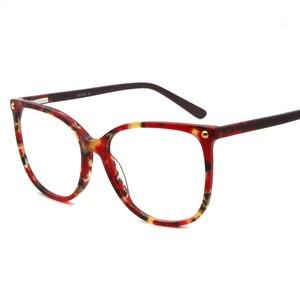 Image 2 - יד משקפיים מסגרות מכירה לוהטת ברור נשים אצטט אופנה ליידי Oversize גדול משקפי אדום דמי משקפיים FVG7057