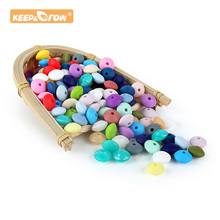 Keep&Grow 500pcs Silicone Beads 12mm Food Grade Lentil Silicone Beads DIY Baby P