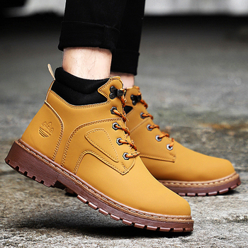 Men Casual Outdoor Working BootsWinter New Men Ankle Boots Plush Warm Classic Fashion Snow Boot Autumn
