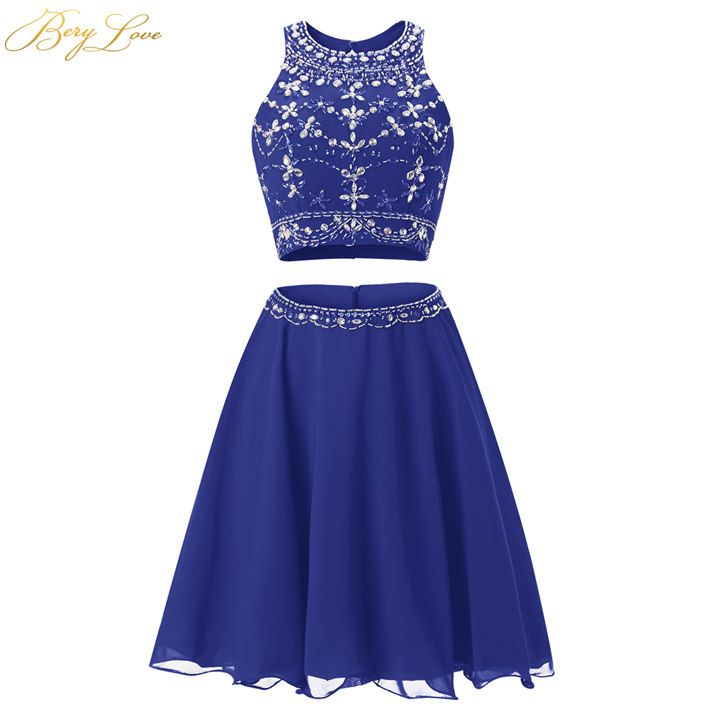 BeryLove Short Royal Blue Homecoming Dress 2019 Mini Beaded Scoop Neck Two Pieces Short Gown Girl Party Prom Graduation Dress