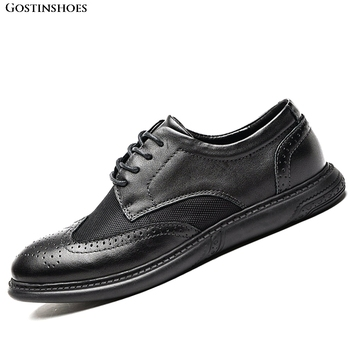 Sapato Men Retro Classic Black Genuine Leather First Layer Casual Shoe Large Size Zapatos Brogue Men Shoes