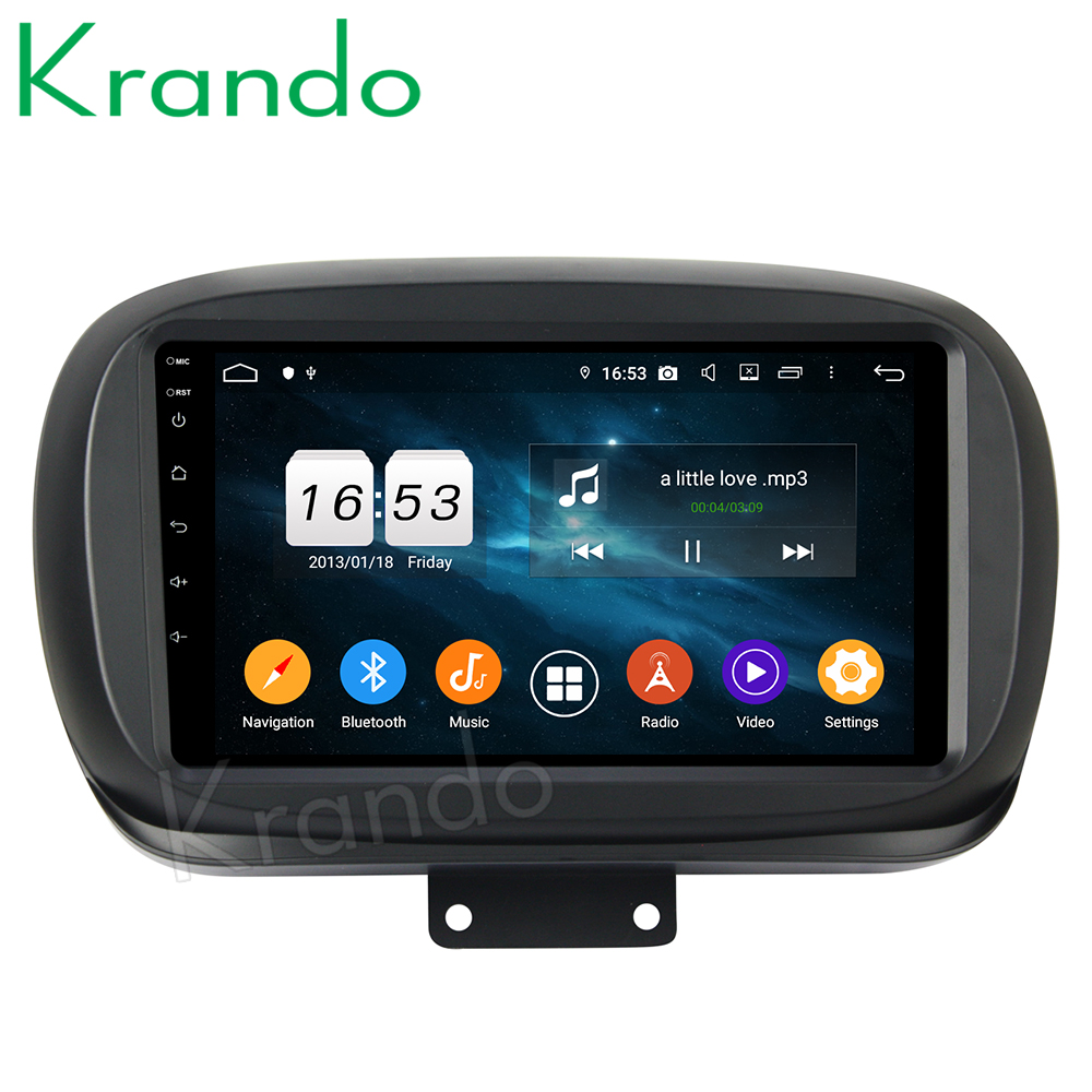 Krando 7'' Android 9.0 For Fiat 500X 2015+ Car Radio Dvd Player Navigation Multimedia Player With Bluetooth