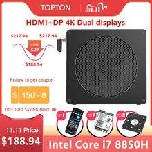 Topton Chơi Game MÁY TÍNH Mini PC I7 8850H i5 8300H 6 Core 12 Luồng 2 * DDR4/DDR3L NVMe m.2 NUC Máy Tính Win10 Pro AC HDMI DP Wifi