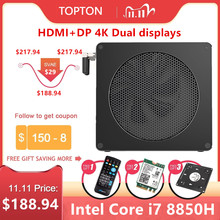 Topton Mini PC Gaming avec windows 10 Pro, i7 8850H/i5 8300H, 6 cœurs, 12 Threads, 2x DDR4/DDR3L, NVMe, Nuc ordinateur de bureau, Nuc, HDMI, DP, wi fi