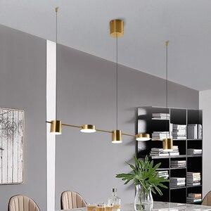Image 3 - זהב או שחור נורדי פשוט תליון אורות חדר אוכל LED תאורת תליית גופי עבור בר שינה בית ארוך תליון מנורה