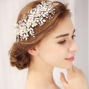 Image 2 - ファッション 2020 シルバー花ブライダルかぶとティアラウェディングヘアアクセサリーつる手作りヘッドバンドヘアアクセサリー花嫁のための