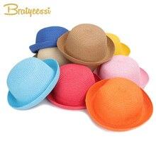 Straw Summer Baby Hat Candy Color Kids Cap Bucket Hat Adjustable Beach Travel Baby Sun