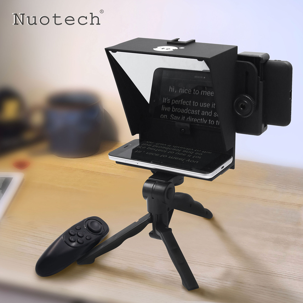 Nuotech Portable Mini Teleprompter For Cell Phone & Camera With Remote Control Adapter Rings Inscriber Mobile Teleprompter