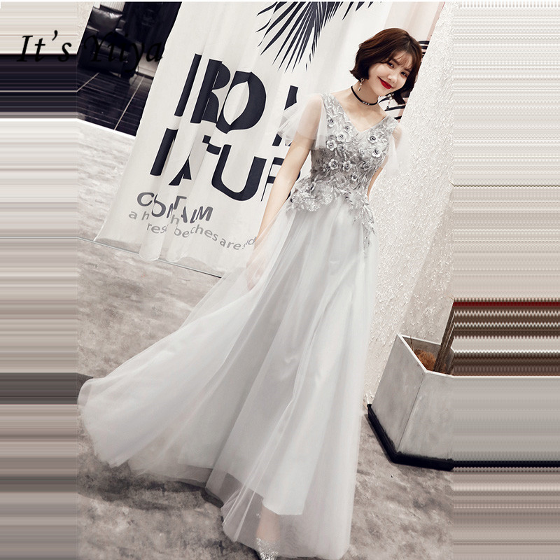 It's Yiiya Evening Dress Elegant V-Neck Short Sleeve Plus Size Robe De Soiree Floor-Length A-Line Women Party Night Dresses E893