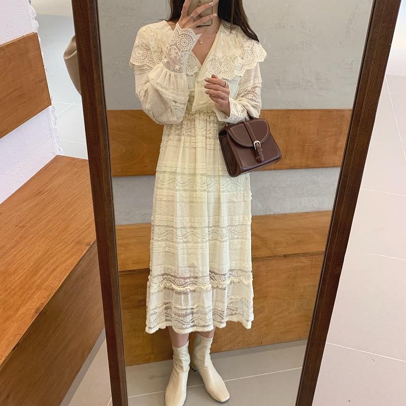H51b0a04e82c4499f8b1d588c1a7c3291r - Spring V-Neck Long Sleeves Long Lace Midi Dress