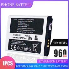 Phone Battery AB463651BC AB463651BU For Samsung W559 S5620 S5630C S5560C C3370 C3200 C3518 J808 F339 S5296 C3322 GT-C3530 S5610