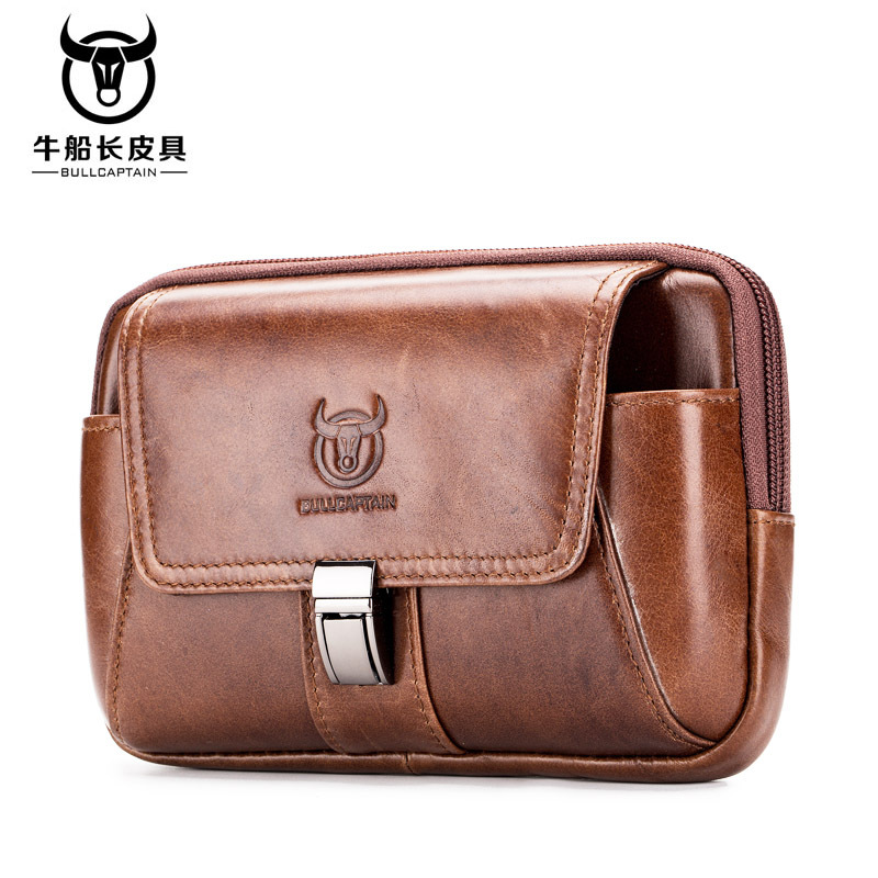 Fur Fanny Pack Waist Bag Leather Small Genuine Leather Belt Bag Men Money Bag Men Purses And Handbags Cell Phone Solid Black 078