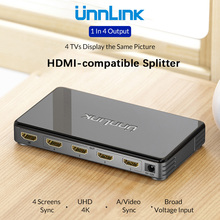 Unnlink HDMI compatible Splitter 1X4 UHD 4K 30Hz 3D FHD1080P 60Hz 1 In 4 Out for Smart LED TV MI Box Monitor ps4 Computer