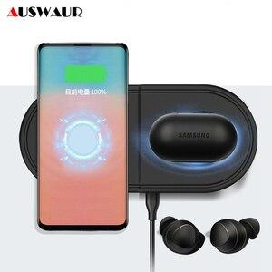 Image 1 - 2 In 1 Fast Wireless Charger PadสำหรับSamsung Galaxy BudsนาฬิกาActive Gear S3 S4กีฬาโทรศัพท์มือถือQIไร้สายชาร์จ