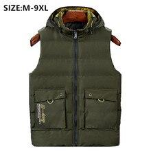 2020 남자 겨울 조끼 민소매 Chalecos 파라 Hombre Gilet Inverno 군사 스타일 패션 플러스 6XL 8XL 두꺼운 조끼 까마귀
