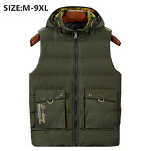 2020 Mens Winter Vest Sleeveless Chalecos Para Hombre Gilet Inverno Military Style Fashion Plus 6XL 8XL Thick Waistcoat Hoodie