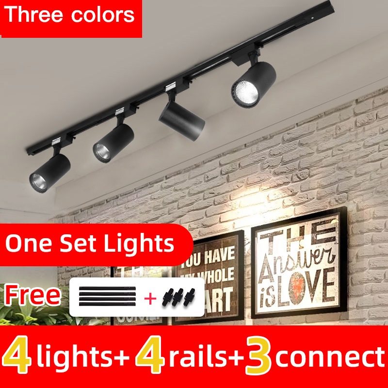 Whole Set Led Track Light 12/20/30/40W COB Track Lights Aluminum Rails Track lighting Fixture For Clothing Shop Living Room Home