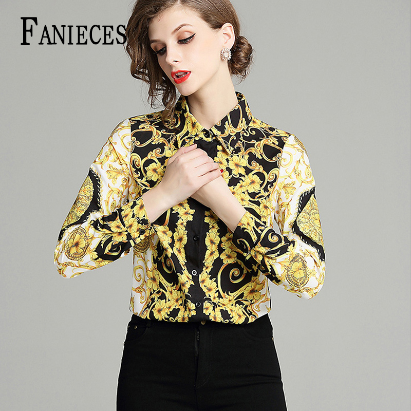 Women Blouses And Tops 2020 Summer Baroque Print Runway Long Sleeve Shirt Ladies Collar Elegant Vintage Office Shirts Work Wear