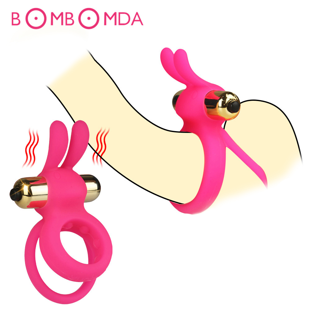 Rabbit Penis Ring Vibrator Delayed Ejaculation Silicone Lock Sperm Cock Ring Vibrating On Dick For Sex For Men Cockring Sex Shop