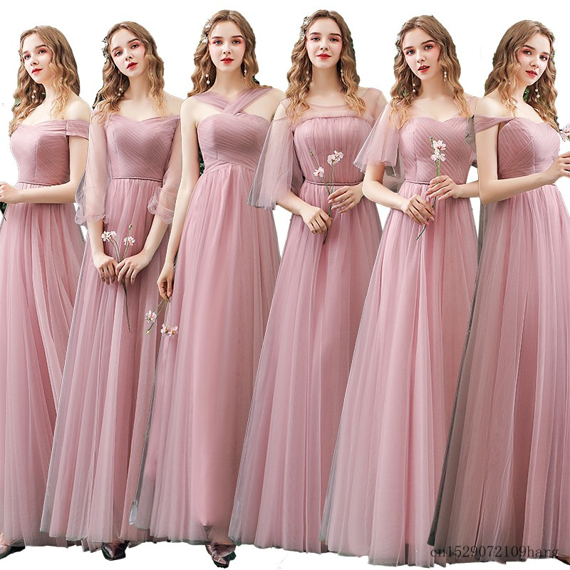 Dark Pink Bridesmaid Dress 2020 Long Tulle Section Version Of The Bridesmaid Party Graduation Wedding Party Prom Girl Dresses