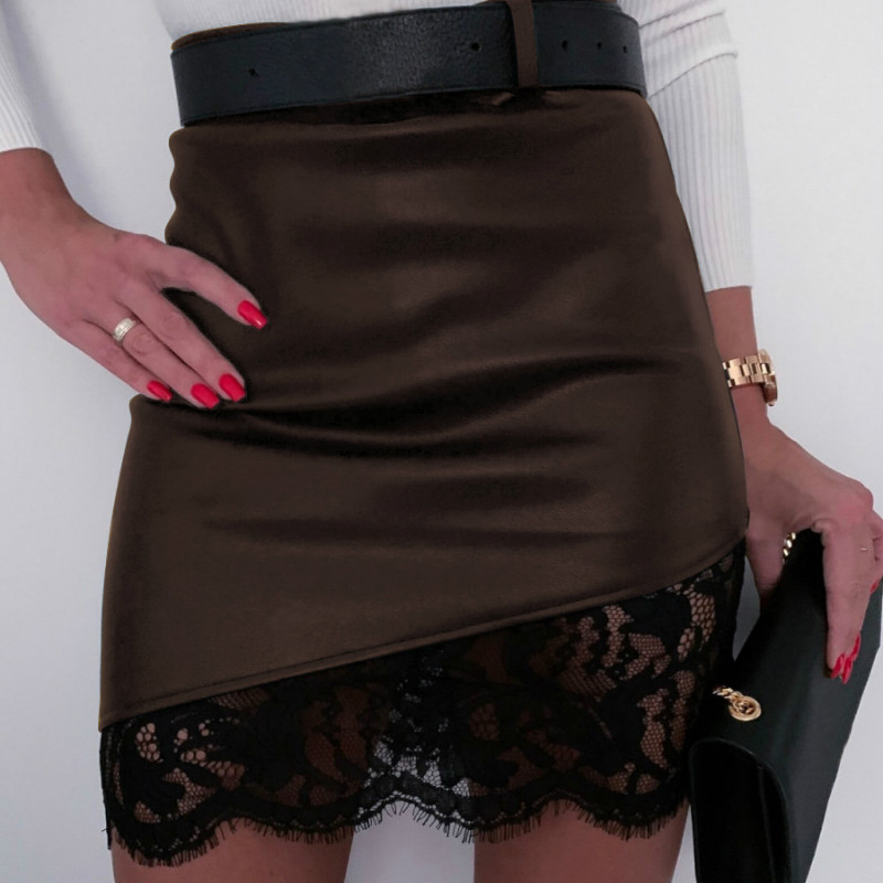 Women Sexy Lace Skirt Ladies Solid A-Line Lace Above Knee Mini Empire Casual Fashion Skirts