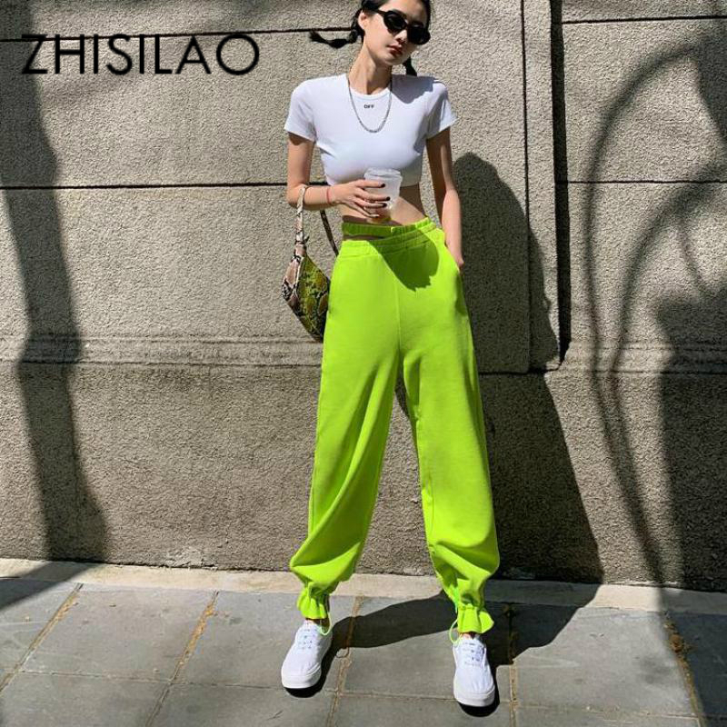Sweatpants Women High Waist Jogger Loose Harem Cargo Pants Mujer Streetwear Black Green Hip Hop Hollow Out Trousers Summer 2020