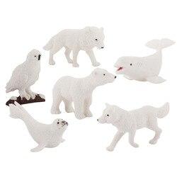 Новая Миниатюрная модель животного для девочек и мальчиков, игрушки, белый медведь, Мормышка, лиса, Белый кит, детская игрушка, Обучающие укр...
