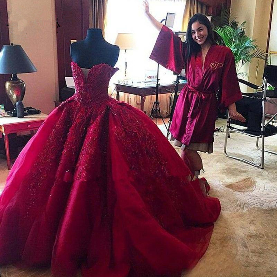 Gorgeous Burgundy Empire Wedding Dresses Dubai Lace Embroidery Puffy Bridal Gowns Sweetheart Off Shoulder Beaded Robe De Mariee