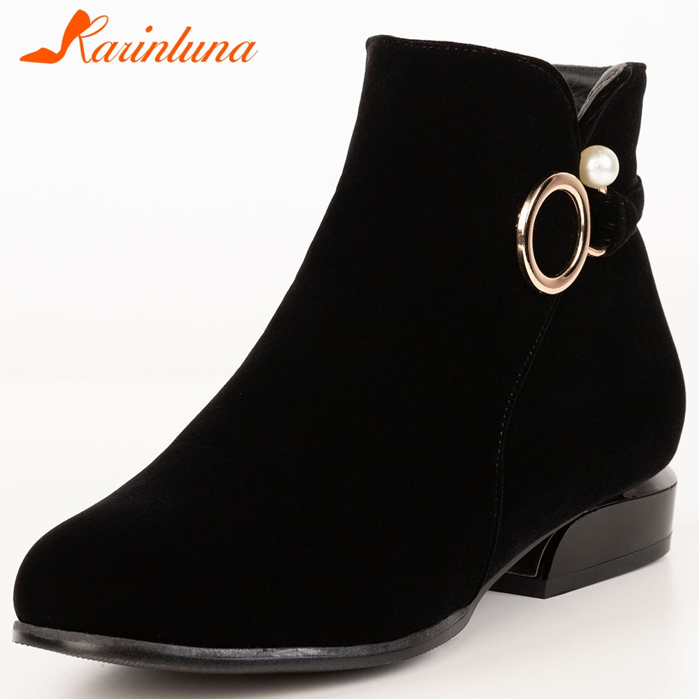 Karinluna 2020 Fashion Plus Size 32-52 Wholesale Ankle Boots Women Shoes Woman Chunky Heels Zip Up Add Fur Winter Boots Female