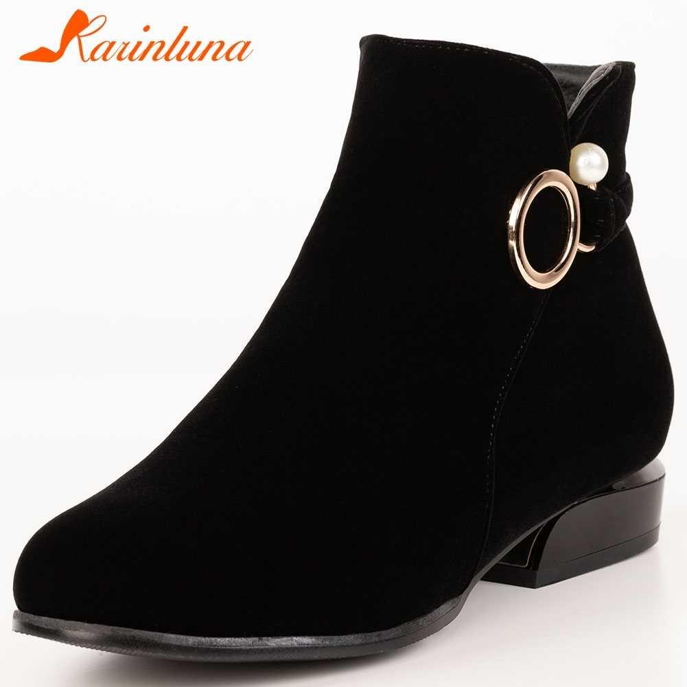 Karinluna 2020 แฟชั่น Plus ขนาด 32-52 ขายส่งข้อเท้ารองเท้าผู้หญิงรองเท้าผู้หญิงส้น Zip Up เพิ่มขนสัตว์ฤดูหนาวหญิง