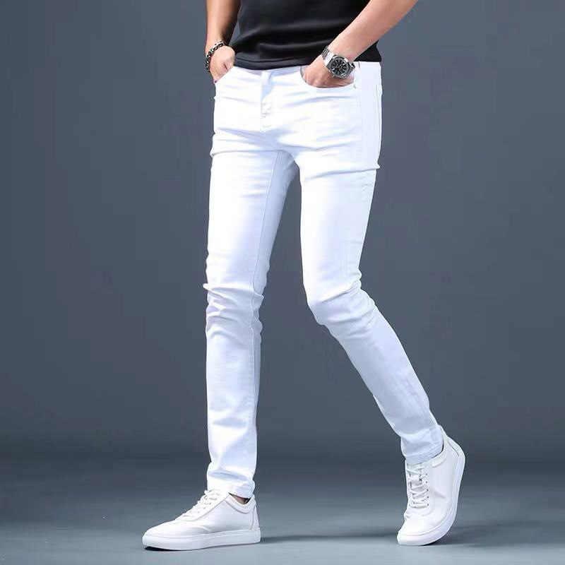 Pantalones Vaqueros Blancos De Disenador Para Hombre Nuevos Pantalones De Mezclilla Elasticos A La Moda Para Hombres Pantalones Vaqueros Informales Ajustados Elasticos Para Hombres Jeans Hombre Pantalones Vaqueros Aliexpress