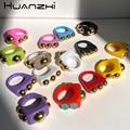 HUANZHI 2021 Новый снежных хлопьев из бисера прозрачные смолы акриловые геометрические кольца для женщин, ювелирные изделия для девушек, модные ...