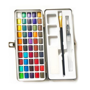 36 colors art solid pigment professional box with paintbrush portable set portable colored pencils for drawing paint watercolors 50 Colors Solid Watercolor Paint Pigment Set Portable Metal Box for Beginner Drawing Art Watercolor Paper Supplies