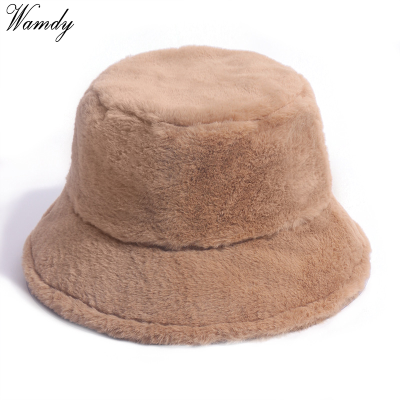 Winter Outdoor Vacation Lady Panama Black Solid Thickened Soft Warm Fishing Cap Faux Fur Rabbit Bucket Hat Women Hairy leopard