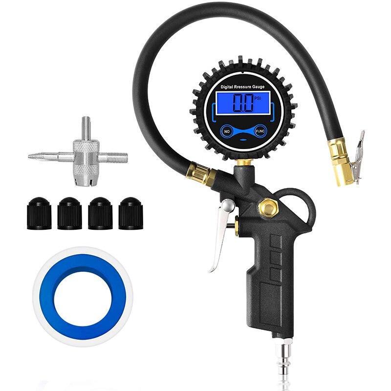 Цифровой насос для шин с манометром 200 PSI, воздушный патрон и аксессуары для компрессора, соединительный элемент быстрого подключения в евро...