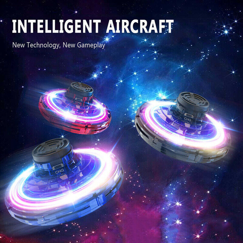WEIXINBUY Kids Toys Led Fidget Finger Spinner Athletic Antistress Toy UFO Gyrocopter Induction Aircraft
